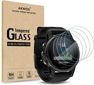 AKWOX (Pack of 4) Tempered Glass Screen Protector for Garmin Fenix 5S [0.3mm 2.5D High Definition 9H] Premium Clear Screen...