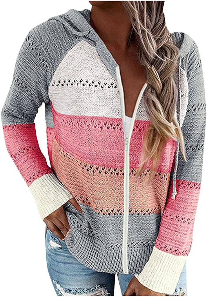 AODONG Hoodies for Women,Casual Oversized Color Block Pullover Sweatshirt Jacket Loose Long Sleeve Pullover Sweaters
