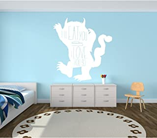 """Wall Decal For Kids - Monster Carol Silhouette -""""I'll Eat You Up, I Love You So"""" Quote - Where The Wild Things Are Room - Vinyl Wall Art and Decor for Children's Bedroom or Playroom"""