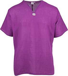 Lofbaz Men's T-Shirt 100% Cotton Hippie Shirt V-Neck Beach Yoga Top