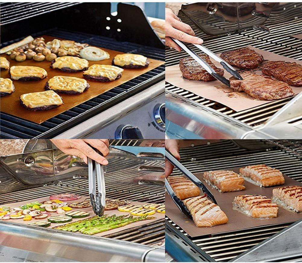 FUHUANGYB 5 Pcs Chaleur Anti-Adhésif Barbecue Tapis Rapide Chaud Cuivre Résistant Facile Nettoyer Grill Tapis Feuille Feuille de Cuisson Portable en Plein Air Barbecue Outil 2pcs