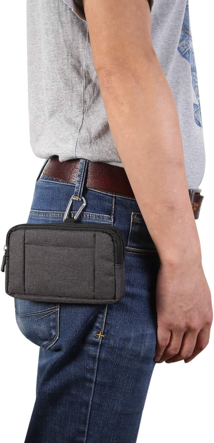 Dual Layer Zipper Cell Phone Belt Clip Loop Holster Pouch Denim Wallet Case for iPhone 12 Pro Max/Samsung Galaxy S21+ 5G / S21 Ultra / S20 FE 2020 / A12 / A02s / Moto G 5G / G Fast/One Fusion