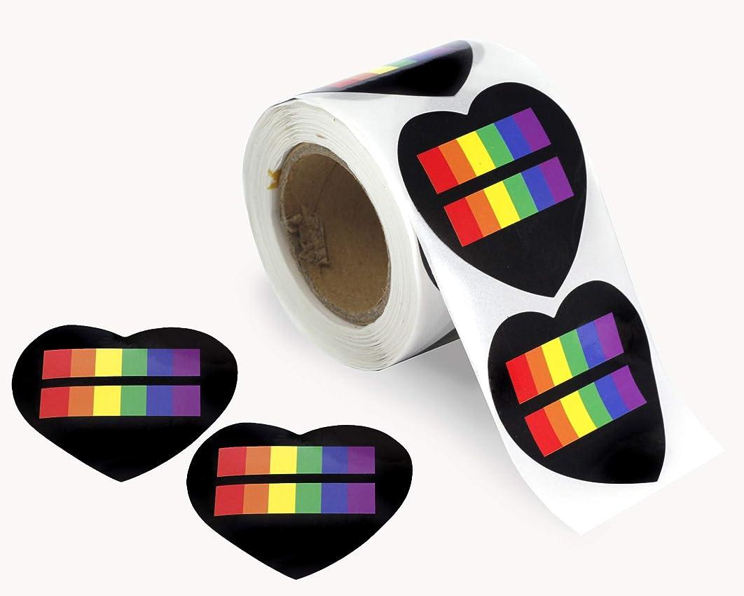 LGBTQ - Rainbow Stripe Equality Heart Stickers (1 Roll - 250 Stickers)