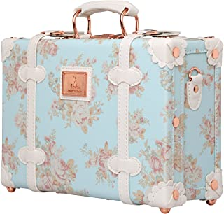 Floral Women Suitcase Small Vintage Luggage Cosmetic Train Case with Straps 12 inch