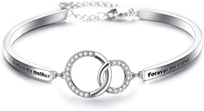 EVER FAITH Glamorous CZ Always my mother Forever my friend Double Circles Infinity Link Bracelet