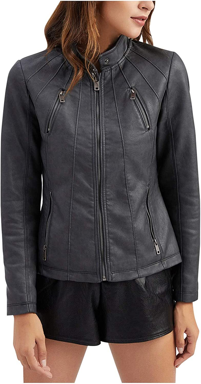 ZSBAYU Faux Leather Jacket Women J Zipper Great interest New sales Fall Motorcycle Trendy