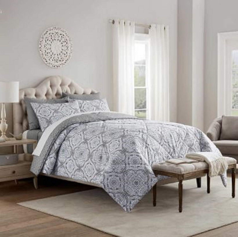 Style Large discharge sale Decor 6-Piece Comforter Set Classic Grey Emma Queen