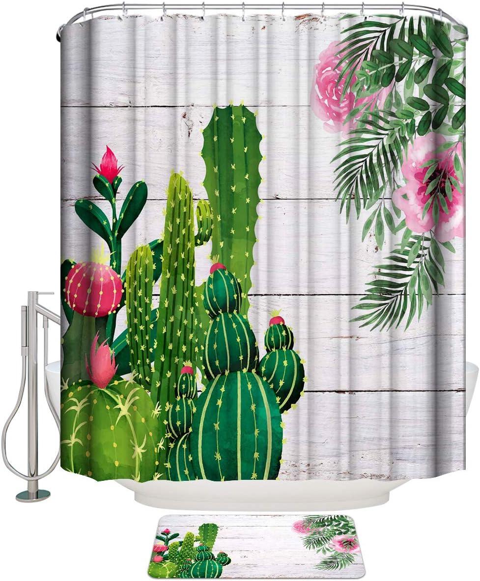 COLORSUM 2 Pcs Sets Shower Elegant Curtains Store Green Tropical Summer Cactus