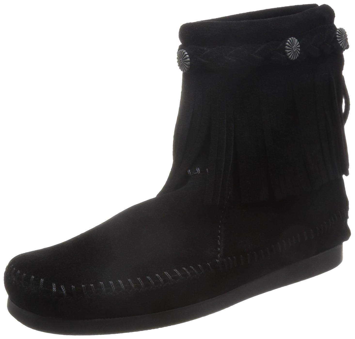 に渡ってジョブ退屈なミネトンカHI TOP BACK ZIP BOOTハイトップ バック ジッパー ブーツ[Color:291T/292/293/299] [並行輸入品] US7 299 BLACK