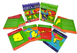 GeoToys — GeoCards World and GeoCards USA — Set of 2 Geography Card Games for Home, School and Travel — Learning Resources and Educational Toys, Flash Cards — Kid Toys for Ages 4 and Up