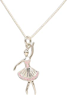 Girl's Sterling Silver Ballerina Charm Necklace with Pink Sparkling CZs