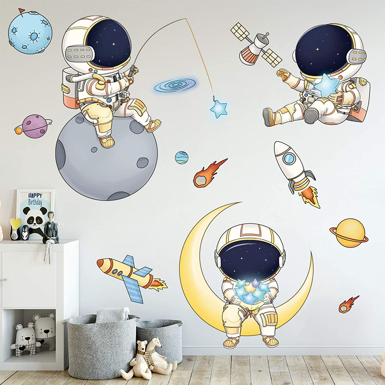 Astronaut Al sold out. Wall Stickers for Boys Max 86% OFF Spacem Cartoon DILIBRA Bedroom