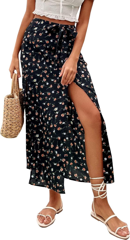 SheIn Women's High Waist Ditsy Floral Split Thigh Knot Front Boho Maxi Skirt