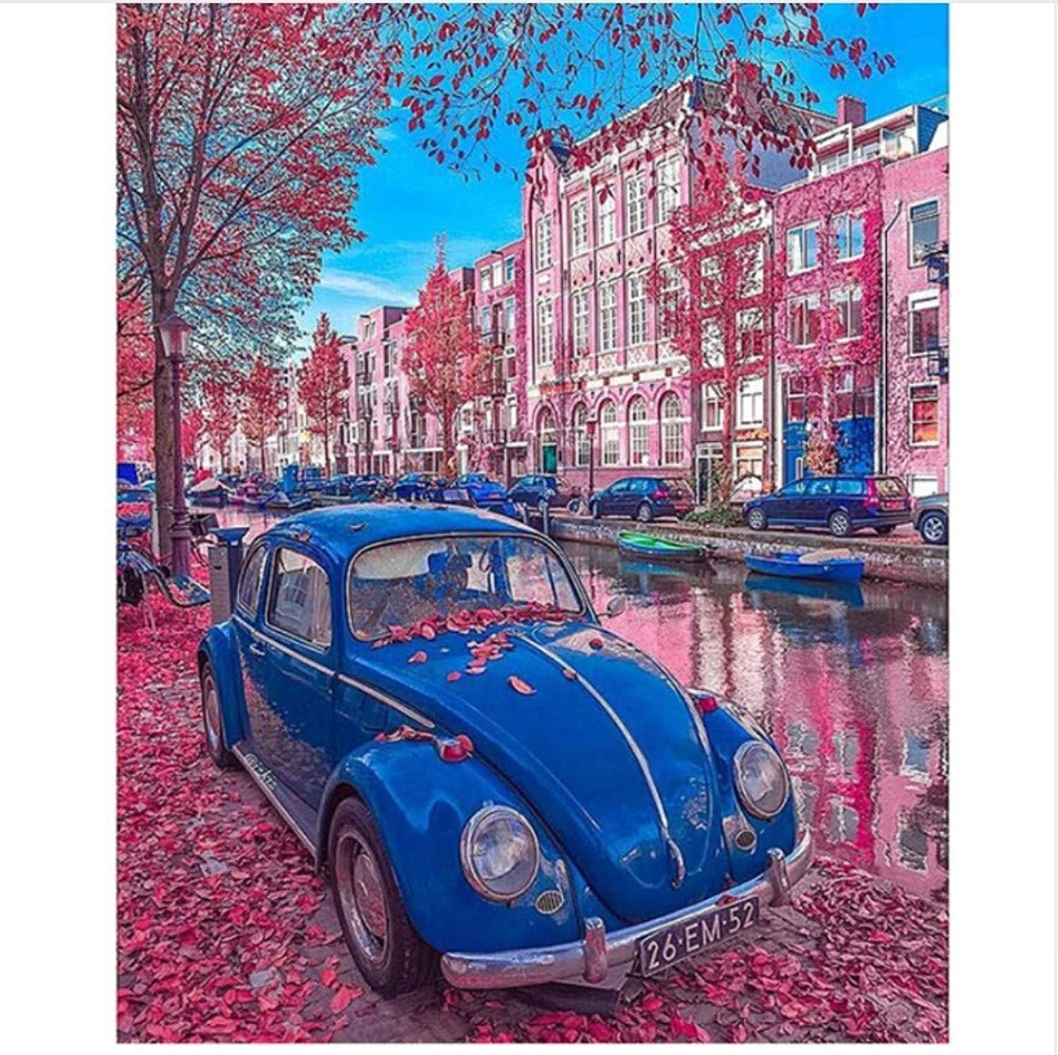 Jigsaw Puzzle 1000 Piece bluee Car Red Street Classic Puzzle DIY Kit Wooden Toy Unique Gift Home Decor