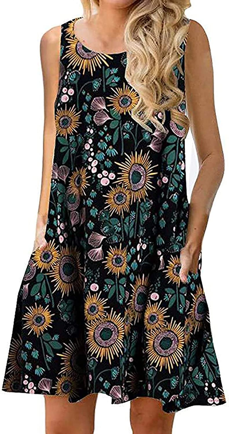 Genhoo Women Summer Casual Sleeveless Floral Printed Swing T-Shirts Dress Sundress with Pockets