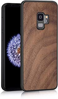 JuBeCo Design for Galaxy S9 Wood Case, Natural Slim Elegant Wooden Protective Cover with Rubber Bumper - Walnut