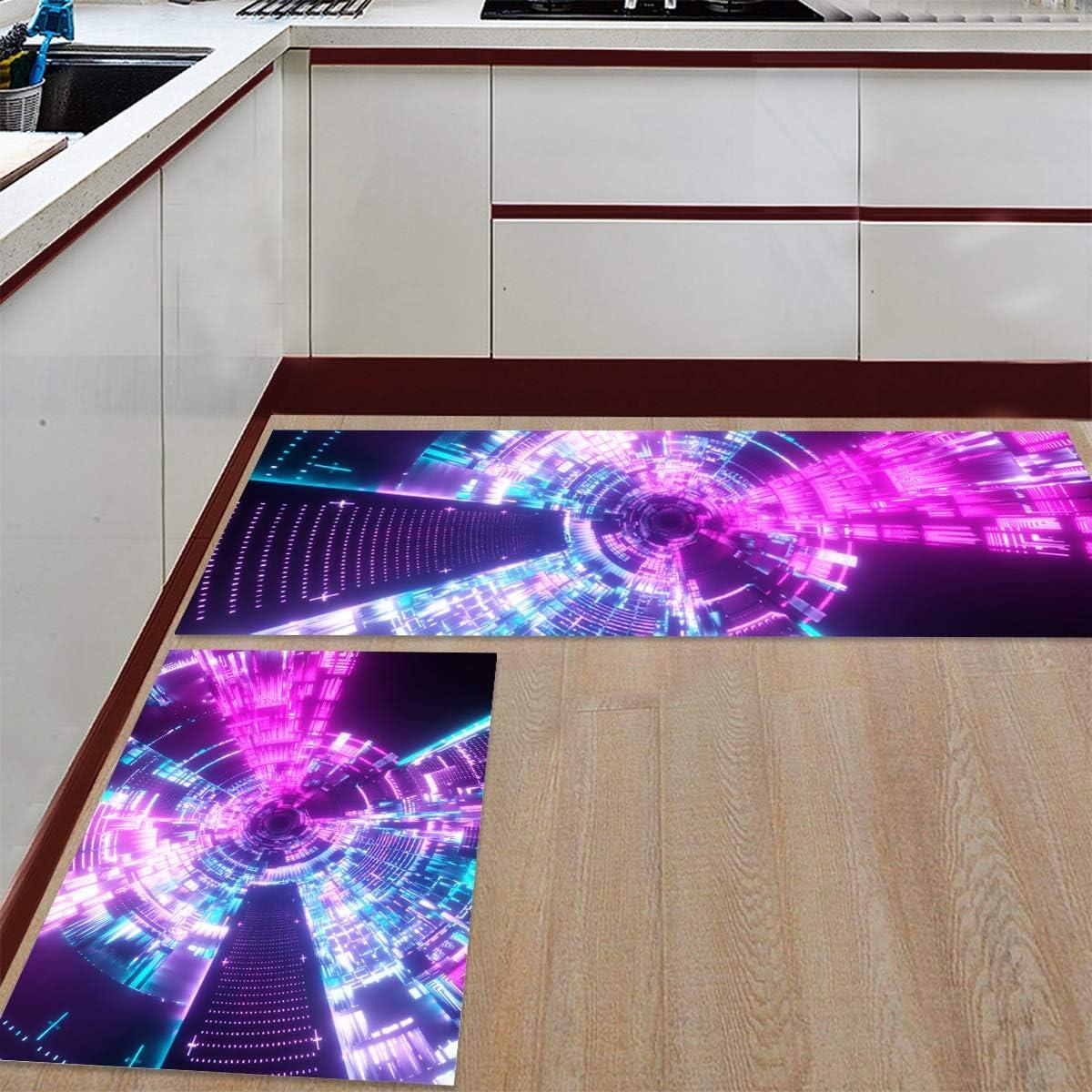 Advancey 2 Pieces Anti-Slip Kitchen Cyberpu Science half Fiction Mats Genuine Free Shipping