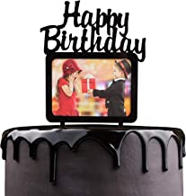 Happy Birthday Cake Topper - Black Acrylic With Photo Frame Cake Picks Décor - Baby Shower Wedding Anniversary Party Supplies - Chic Insert Cards Girls Boys Pictures Decorations