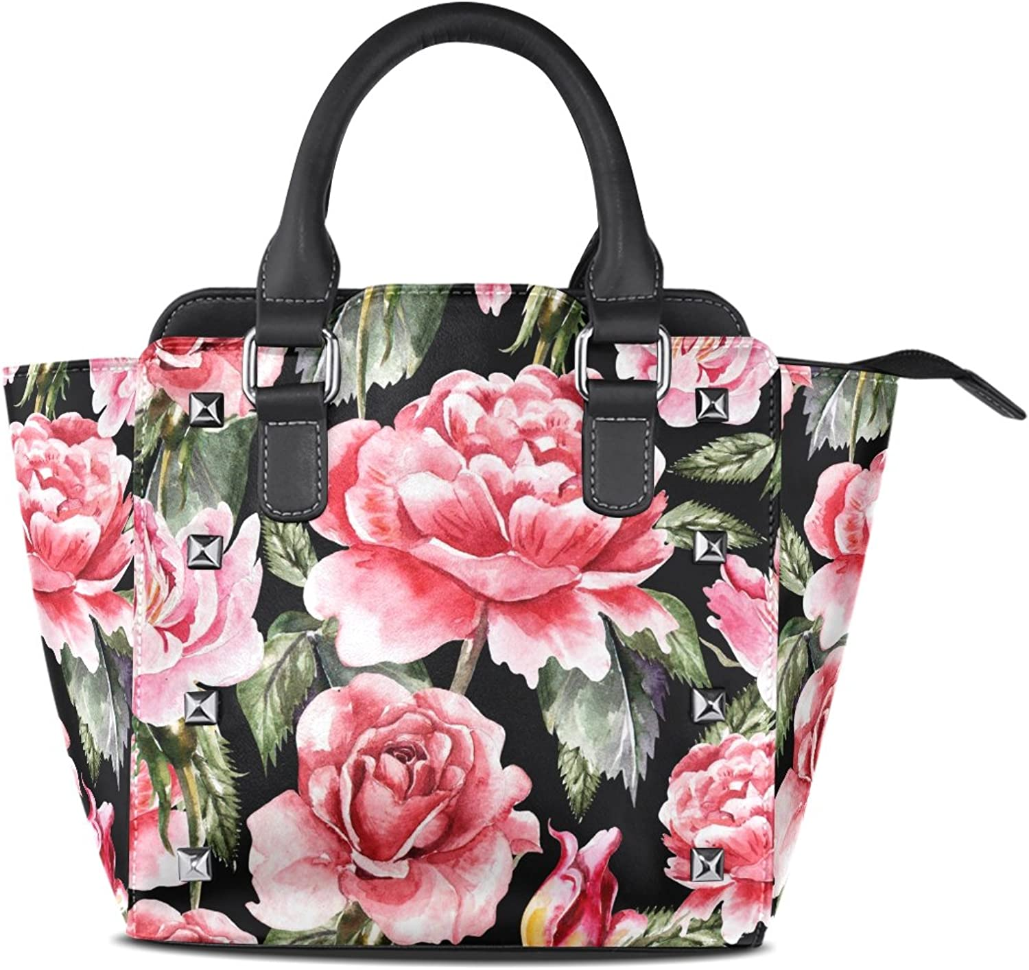 My Little Nest Women's Top Handle Satchel Handbag Watercolor pinks and Peonies Ladies PU Leather Shoulder Bag Crossbody Bag