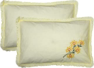 """Kuber Industries Embroided Design 2 Piece Cotton Pillow Cover Set-17""""x27"""" (Cream) Luxury Pillow Covers - CTKTC040275"""
