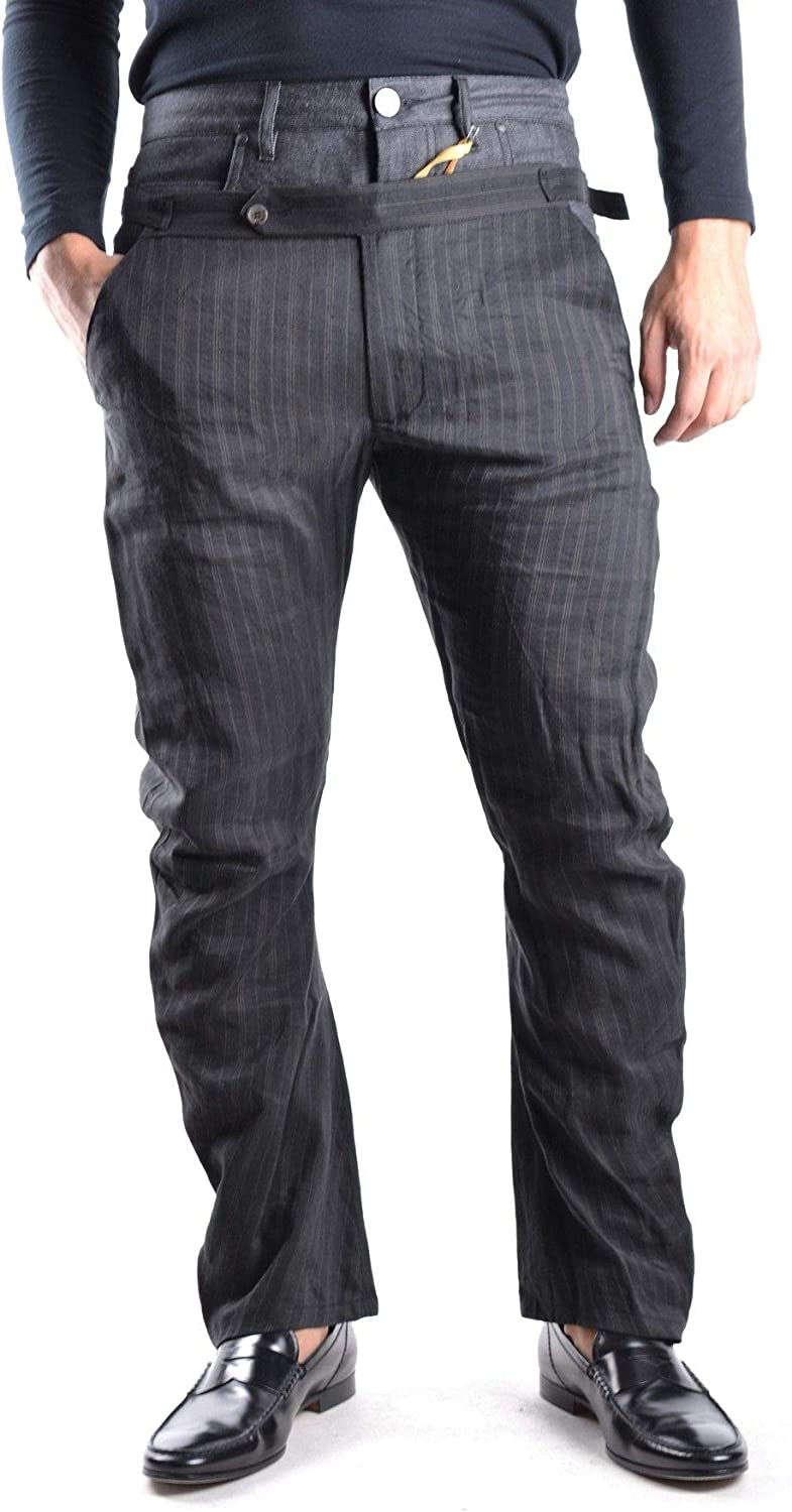 GALLIANO Men's MCBI11520 Grey Linen Pants