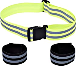 High Visibility Reflective Glow Belt with 2 Ankle Bands / Armbands - Best for Running, Dog Walking, Cycling and Outdoor Sports Safety. Lightweight - Elastic Fabric - Adjustable Tightness. Men / Women