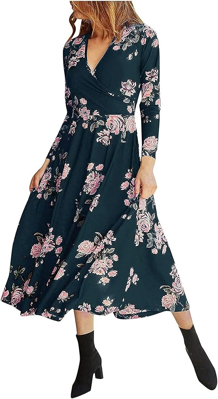 FlekmanArt Women's Long Sleeve Floral Mini Dress Boho V Neck Ruffle Chiffon Dress Summer Flared Sleeves Casual Dresses