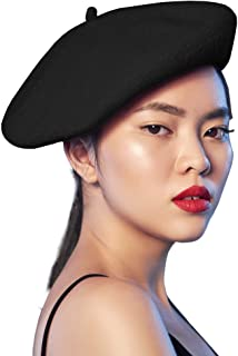 Skeleteen Black French Style Beret - Women's Classic Beret Hat For Casual Use - 1 Piece