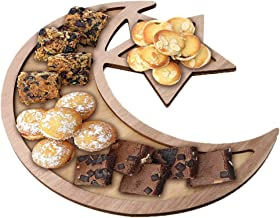 Ramadan Tray, Wooden Artistic Eid Mubarak Party Serving Tableware Tray Display Wood Decoration Ornament for Home (D)