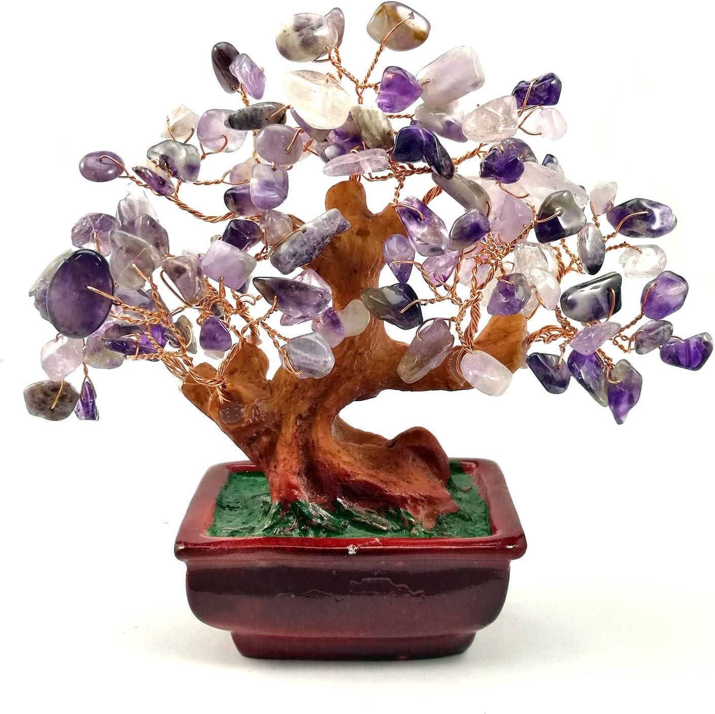 NYKKOLA Mix Gem Stone Money Amethyst Rose Citrine Carnelian Clear Quartz Feng Shui Plants /& Flowers Artificial Trees Green