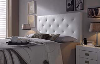 comprar comparacion Cabezal tapizado Rombo 150X60 Blanco, Acolchado con Espuma, 8 cm de Grosor, Incluye herrajes para Colgar