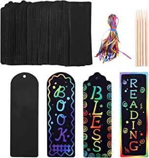 75 Set Scratch Art Bookmarks for Kids, DIY Magic Rainbow Scratch Paper Notes Cards Gift Tags Doodle Bookmarks with Wood St...