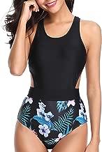 Tempt Me Women One Piece Tropical Printed Swimsuit High Neck Cutout Zip Monokini