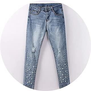Cotton Jeans Wide Leg Jeans Ripped Hole Loose Calf-Length Denim Bleached Jeans