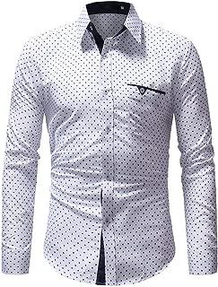 Stoota Men's Dress Shirt,Casual Formal Polka Dot Slim Fit Long Sleeve Top Blouse