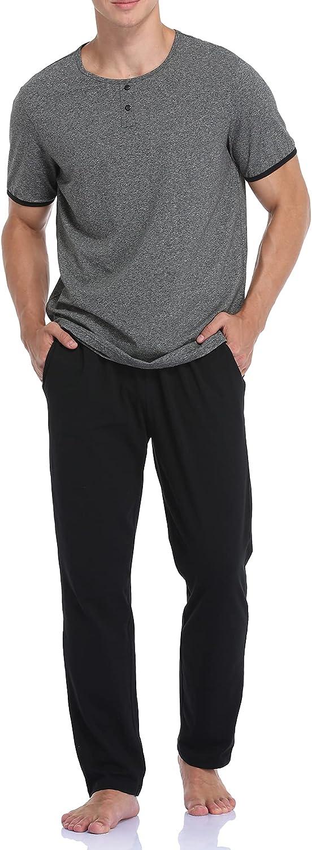 COLORFULLEAF Men's Cotton Pajama Set Short Sleeve Henley Shirt and Pants Sleepwear Lounge Set for Men