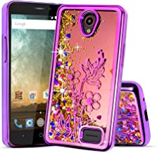 For ZTE Prestige 2 (N9136)/Maven 3/Overture 3/Prelude Plus Cute Liquid Glitter Flowing Sparkle Hearts Floral Fairy Dust Shockproof Protective TPU Case [Free Emoji Keychain!] (Purple)
