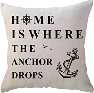 """ULOVE LOVE YOURSELF Costal Beach Throw Pillow Cover """"Home is Where The Anchor Drops"""" House Decor Cushion Covers Summer Holiday Decorative Pillowcases 18x18 inch"""