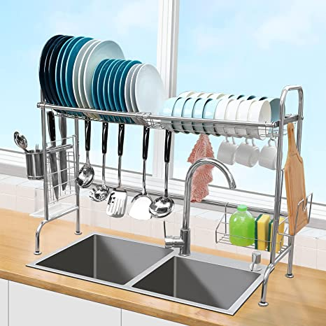 Amazon Com Over The Sink Dish Drying Rack Ohuhu Height Adjustable 304 Stainless Steel Large Kitchen Storage Dish Rack Drainer With Utensil Holder 10 Utility Hooks For Counter Sink Home Kitchen