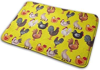 We Love Chickens in Yellow Carpet Non-Slip Welcome Front Doormat Entryway Carpet Washable Outdoor Indoor Mat Room Rug 15.7 X