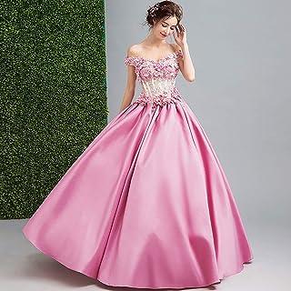 W&TT Bordado de la Flor de Las Mujeres appliquer Encaje Bola Vestido de Fiesta con cinturón de la Novia de Hombro 16 Vestidos de quinceañera,Pink,S