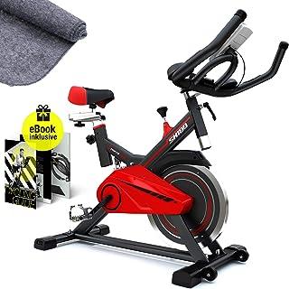 SPORTSTECH Profi Heimtrainer Fahrrad mit 13kg Schwungscheibe & leisem Riemenantrieb inkl. Ebook | Hometrainer Speedbike mi...