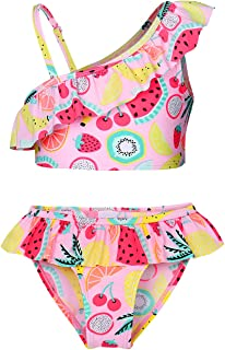 MetCuento Girls Swimsuit Two Piece Swimwear Ruffles Sleeve Bathing Suit Summer Beach Wear Swimming Tankini Sets