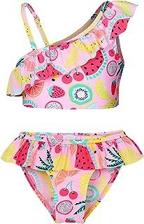 طقم ملابس السباحة MetCuento للفتيات قطعتين ملابس سباحة وكشكشة كم ثوب سباحة الصيف الشاطئ ملابس السباحة مجموعات تانكيني