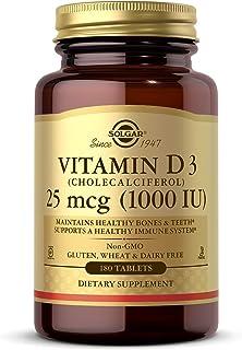 Solgar Vitamin D3 (Cholecalciferol) 25 mcg (1000 IU), 180 Tablets - Helps Maintain Healthy Bones & Teeth - Immune System S...
