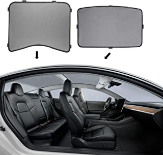 NOVO Tesla Model 3 Sunshade (2 Piece) - Top & Back Roof Design, Mesh Sunshade Material, Customized Fit Car Sunshade