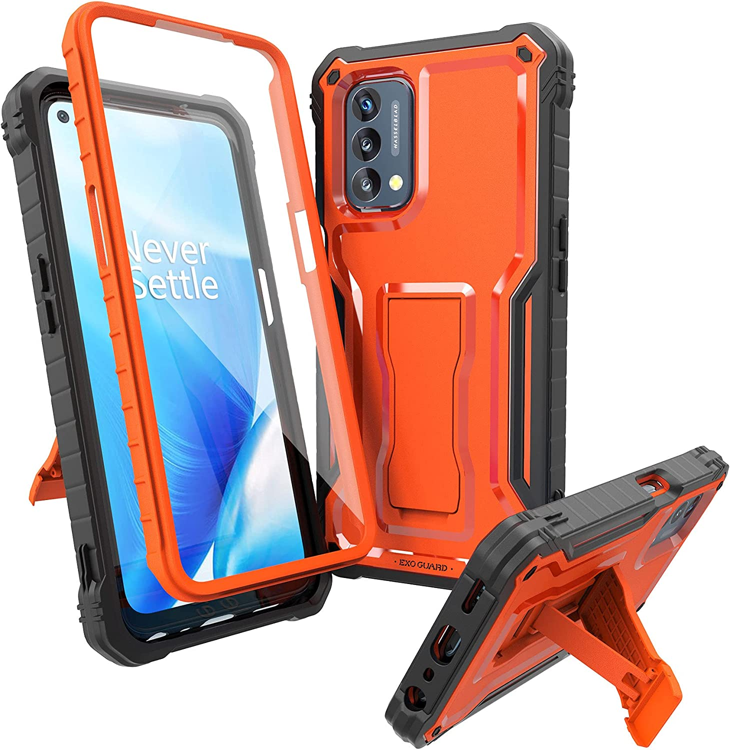 ExoGuard for OnePlus Nord N200 5G Case, Rubber Shockproof Full-Body Cover Case Built-in Screen Protector and Kickstand Compatible with OnePlus Nord N200 Phone (Orange)