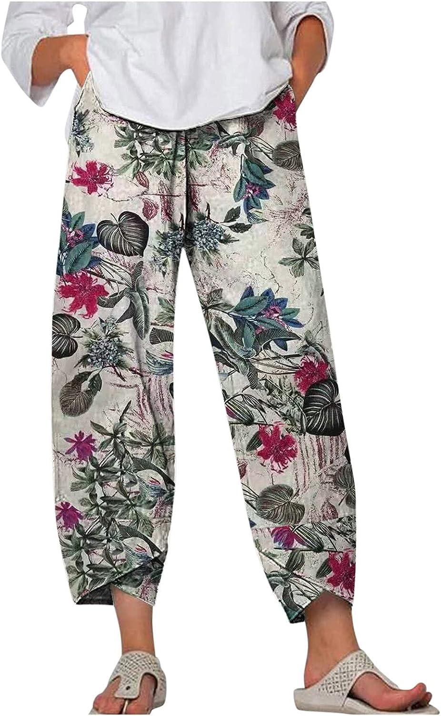 Women Casual Loose Cotton Linen Pants Floral Elastic Waist Comfy