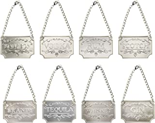 Homend Liquor Decanter Tags, Deluxe Set of Liquor Tags for Bottles or Decanters, Set of Eight With Adjustable Chain Features - Whiskey, Bourbon, Scotch, Gin, Rum, Vodka, Tequila and Brandy (Silver)