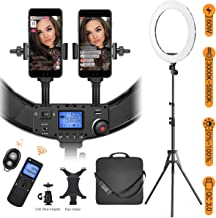 """Ring Light with Wireless Remote and iPad Holder, Pixel 19"""" Bi-Color Ring Light with Stand,60W 3000-5800K CRI=97 Light Ring with USB QC 3.0 for Vlogging Portrait Makeup Video Shooting"""